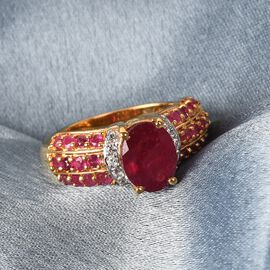 African Ruby and Natural Cambodian Zircon Ring in 14K Gold Overlay Sterling Silver 3.40 Ct.