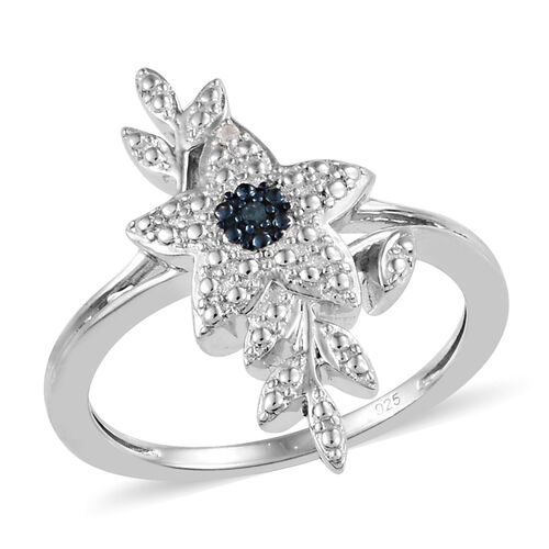 Blue and White Diamond Floral Ring in Platinum Plated Silver 0.02 Ct