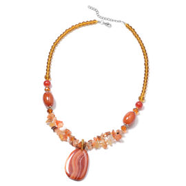 Red Agate, Simulated Multi Colour Gemstone Cluster Beads Adjustable Necklace (Size 28 with 2 inch Ex
