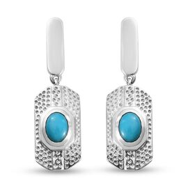 Arizona Sleeping Beauty Turquoise Earrings (with Push Back) in Platinum Overlay Sterling Silver 1.33