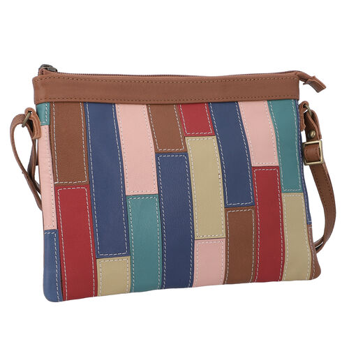 100% Genuine Leather Sling Bag with Shoulder Strap (Strap Size:115cm, Bag Size:26x20 CM) - Tan and Multi Colour
