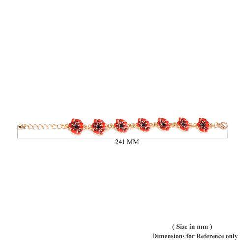 TJC Poppy Design Red and Black Enamelled Poppy Flower Gold Tone Bracelet (Size 7 with 1.5 Inch Extender)