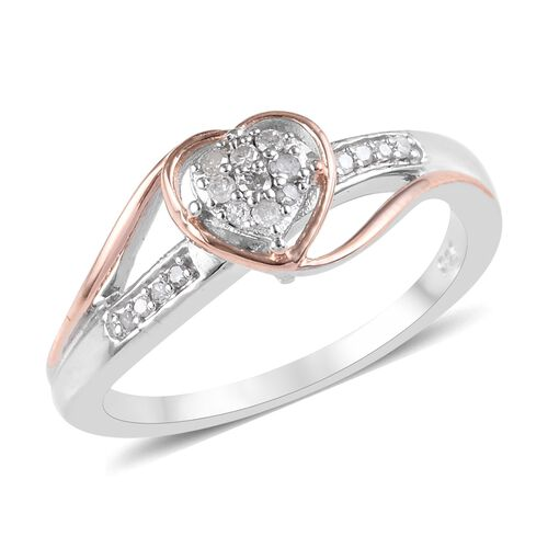 Diamond Heart Ring in Platinum and Rose Gold Plated Sterling Silver