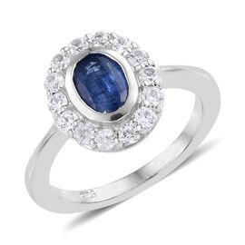 Kashmir Blue Kyanite (Ovl), Natural Cambodian Zircon Ring in Platinum Overlay Sterling Silver 2.150 Ct.