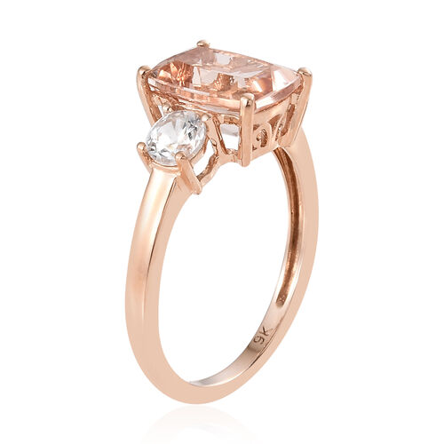 9K Rose Gold AA Moroppino Morganite (Cush 9x7mm), Natural Cambodian White Zircon Ring 2.500 Ct.