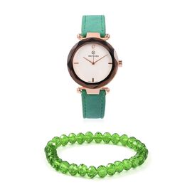 2 Piece Set - STRADA Japanese Movement Austrian Crystal Studded Water Resistant Watch with Stretchable Green Beads Bracelet (Size 6.75)