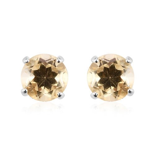 Set of 3 - Sky Blue Topaz, Boi Ploi Black Spinel and Citrine Stud Earrings (with Push Back) in Sterling Silver