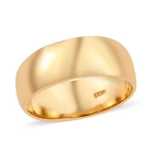 High Finish 7mm Plain Band Ring in Gold Plated Sterling Silver 4.17 grams