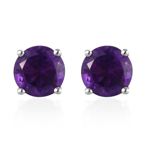 Amethyst Stud Earrings (with Push Back) in Platinum Overlay Sterling Silver 1.00 Ct.
