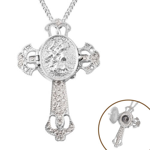 STRADA Japanese Movement Crystal Studded Hollow Cross Locket Watch with Chain (Size 29 with 3 inch E