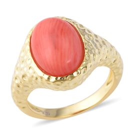 Living Coral (Ovl 14x10 mm) Ring in Yellow Gold Overlay Sterling Silver