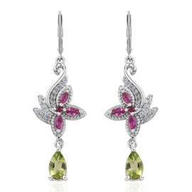 GP African Ruby (Mrq), Multi Gemstone Lever Back Earrings in Platinum Overlay Sterling Silver 2.580 Ct, Silver wt 6.00 Gms.