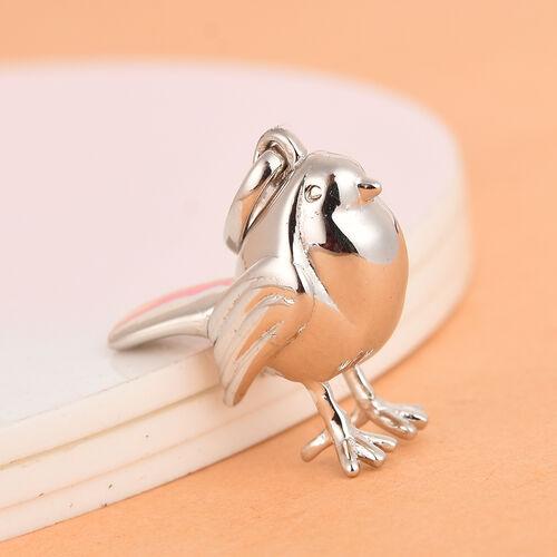 Platinum Overlay Sterling Silver Robin Bird Pendant