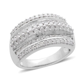 1.50 Ct Diamond Cluster Ring in Platinum Plated Sterling Silver 7.69 Grams
