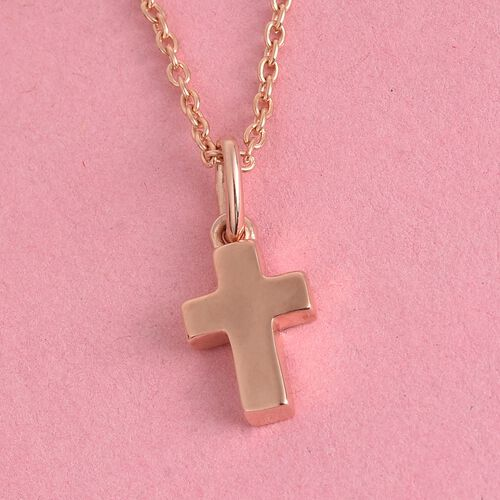 Rose Gold Overlay Sterling Silver Cross Pendant with Chain (Size 18)