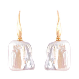 Baroque Pearl Hook Earrings in Yellow Gold Overlay Sterling Silver