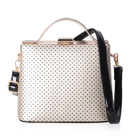 Boutique Collection Vintage Style Polka Dot Golden Colour Handbag with Removable Shoulder Strap (Siz