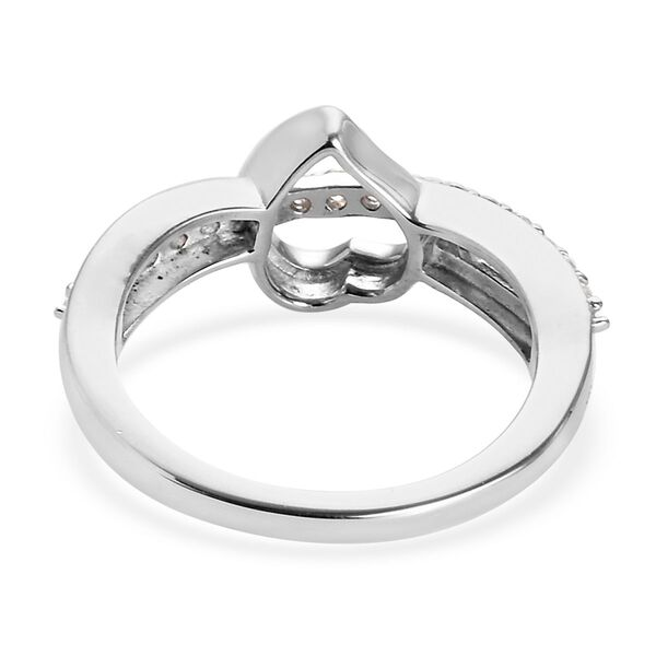 J Francis - Platinum and Yellow Gold Overlay Sterling Silver (Rnd) Heart Criss Cross Ring Made with SWAROVSKI ZIRCONIA