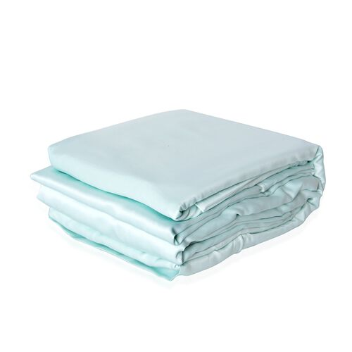 King Size Set of 4- Mint Colour Matt Satin Duvet Cover (Size 225x220 Cm), Fitted Sheet (Size 200x150x30 Cm) and 2 Pillow Cases (75x50 Cm)