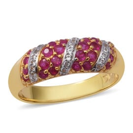 1.01 Ct Burmese Ruby and Zircon Band Ring in Yellow Gold Plated Sterling Silver