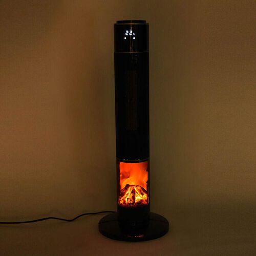HomesmartTower Heater with Oscillation Function, Fireplace and Remote Control