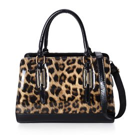 HONG KONG CLOSE OUT- Chocolate and Black Colour Leopard Pattern Handbag with Adjustable and Removable Shoulder Strap (Size 30x22x13 Cm)