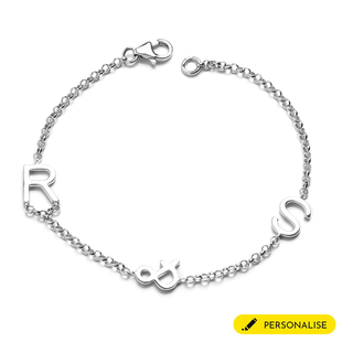 Personalised Two Alphabet + &, Name Bracelet in Silver, Size - 7.5 Inch