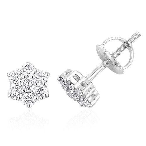 ILIANA 18K White Gold IGI Certified Diamond (Rnd) (SI G-H) Floral Stud Earrings (with Screw Back) 0.500 Ct.