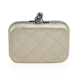 Hardcase Clutch Bag with Chain - White