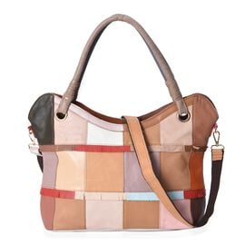 Close Out Deal- 100% Genuine Leather Multicolour Block Pattern Tote Bag (Size 33x12x30 Cm) with Deta