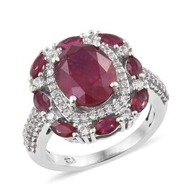 5 Carat African Ruby and Cambodian Zircon Halo Ring in Sterling Silver 4.5 Grams
