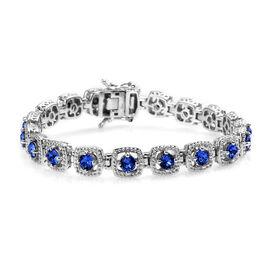Super Auction- J Francis - Crystal from Swarovski White Crystal (Rnd) Bracelet (Size 7.5) in PlatJ F