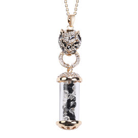 Black and White Colour Austrian Crystal Enamelled Pendant With Chain in Gold Tone