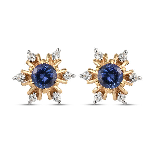 Tanzanite and Natural Cambodian Zircon Snowflake Stud Earrings (with Push Back) in 14k Gold Overlay