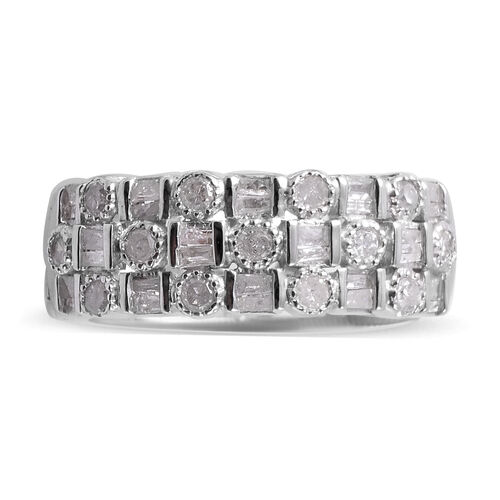 Diamond (Rnd and Bgt) Band Ring in Platinum Overlay Sterling Silver 0.50 Ct.