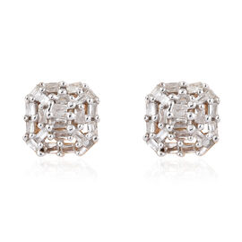 Diamond (Bgt) Stud Earrings (with Push Back) in 14K Gold Overlay Sterling Silver 0.201 Ct.