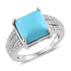 5.5 Ct Sleeping Beauty Turquoise and Cambodian Zircon Ring in 9K White Gold 4.78 Grams
