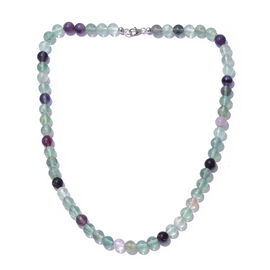 Natural Multi Colour Rare Fluorite (Rnd) Beads Necklace (Size 20) in Platinum Overlay Sterling Silver 232.000 Ct
