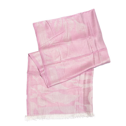Humming Bird Pattern Pink Colour Jacquard Scarf with Tassels (Size 180x70 Cm)