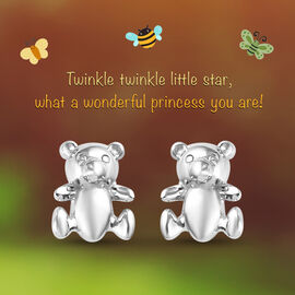 Kids Teddy Bear Earrings in Sterling Silver