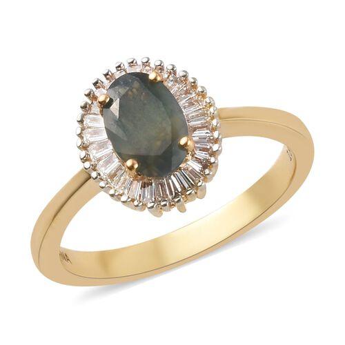 ILIANA 18K Yellow Gold AAA Narsipatnam Alexandrite and Diamond (SI/G-H) Halo Ring 1.10 Ct, Gold wt.