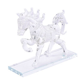 Decorative White Crystal Glass Horse on Stand (12x6x15cm)