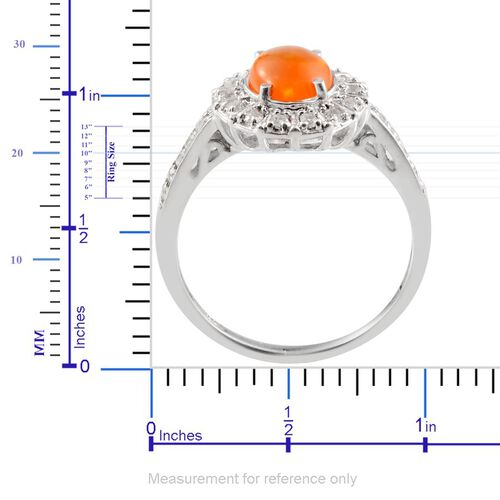 Orange Ethiopian Opal (Ovl 0.75 Ct), White Topaz Ring in Platinum Overlay Sterling Silver 1.150 Ct.