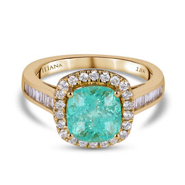 18K Yellow Gold  Colombian Emerald, White Diamond Ring 3.05 ct,  Gold Wt. 5.88 Gms  3.050  Ct.