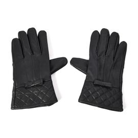 100% Genuine Leather Gloves with Bowknot and Quilted Pattern on Wrist (Size 9x23 Cm) - Black