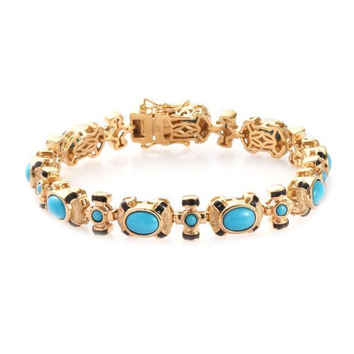 7.90 Ct Arizona Sleeping Beauty Turquoise Enamelled Station Bracelet in Gold Plated Silver 7.5 Inch