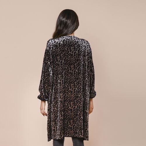 Marigold Lotus: Grey Leopard Velvet Cardigan (70x95cm)