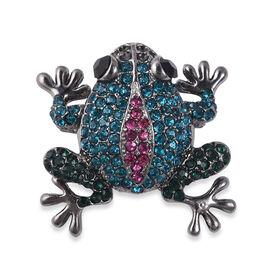 Multicolour Austrian Crystal Frog Brooch in Silver Tone
