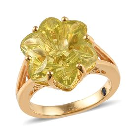 GP 12.03 Ct Brazilian Green Gold Quartz and Blue Sapphire Floral Ring in 14K Gold Plated Silver