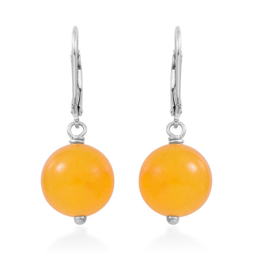 Super Bargain Price-Yellow Agate (Rnd) Lever Back Earrings in Rhodium Plated Sterling Silver 24.000 Ct.